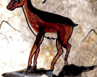 A Deer Little Treasure! Mid 20th Century Picasso Studio Pottery. Vallauris Hand Painted Lascaux Cave Drawing.