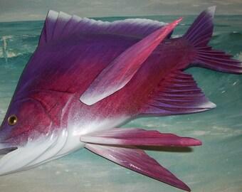 Frank GABRIEL Original, Signed Wood CARVING Purple & Magenta small Grunt FISH