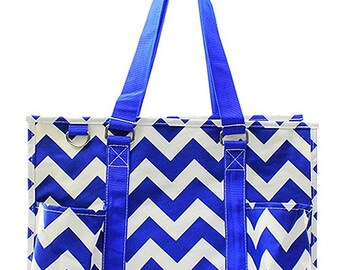 Monogram utility tote/ Royal Blue Chevron Utility bag/carry all/ large  diaper bag