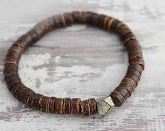 Fathers Day Gift from Daughter Mens Bracelet Boyfriend Gift Coconut & Pyrite Bracelet Gift Boyfriend Bracelet Mens Gift Mens Beaded Bracelet