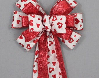 Red Sparkle Heart Valentine's Day Bow - Valentine's Day Decorations