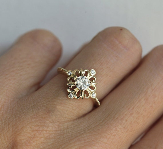 vintage moissanite ring gold engagement ring deco by