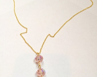 Pink Glass Crystal Bead and Glass Pearl Gold Drop Necklace