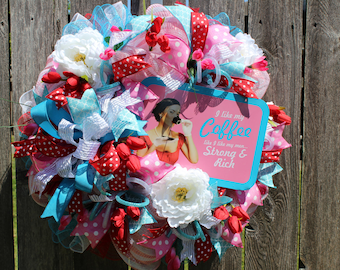 Summer Mesh Wreath, Deco Mesh Spring Wreath, Mother's Day Gift, Sassy Wreath