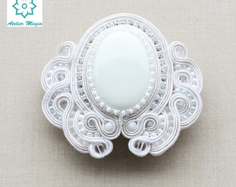 soutache hair barrette, hair clip, pin, hair clasp, bridal barrette ,bridal haircomb, pince à cheveux, pinza de pelo, clip di capelli