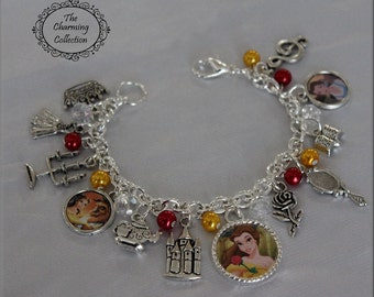 Beauty and the Beast Fully Loaded Charm Jewelry with round theme pendants, Red and Gold Beauty and the Beast Color beads with charms Belle