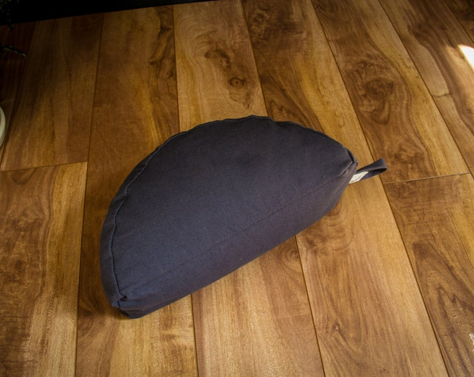 Crescent Travel meditation cushion half moon zafu Dark Gray buckwheat pillow handmade by Creations Mariposa C-GU