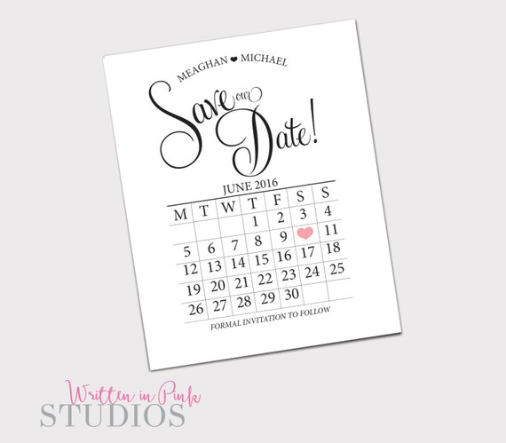 calendar save the date printable save the by writteninpinkstudios. Black Bedroom Furniture Sets. Home Design Ideas