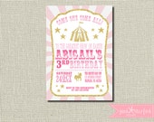 Circus Invitation, Carnival Birthday Party, Big Top Pink and Gold, Circus Birthday Party, Girls Boys Birthday Party, Glitter, Merry Go Round