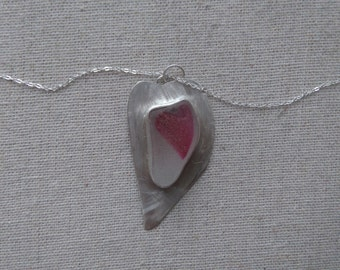 """SALE! White & Hot Pink Sea Glass Beach  Bezel Set Beach Heart Pendant Necklace On 18"""" Chain- English End Of Day Multi Valentine Day Seaglass"""