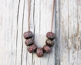 Raku Ceramic Necklace, Brown Necklace, Boho Necklace, Geometric Necklace, Long Necklace, Raku Necklace, Chain Necklace