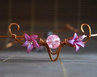 wire wrapped diadem crown,wire wrapped jewelry,polymere clay Flowers,swarovski heart