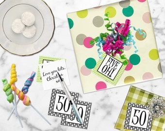 Printable 50th Birthday, Printable Five Oh Gift Tags, Printable 50th Birthday Cupcake Toppers, DIY Cupcake Toppers by SUNSHINETULIPDESIGN