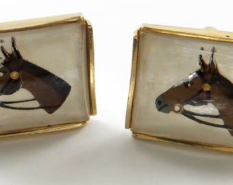 """Vtg Cuff Links Horse Head Backpainted on Glass  .75"""" Wide"""