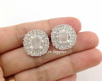 Silver Stud Earrings Settings Fits ss39 Double Row Clear Rhinestones 1 Pair