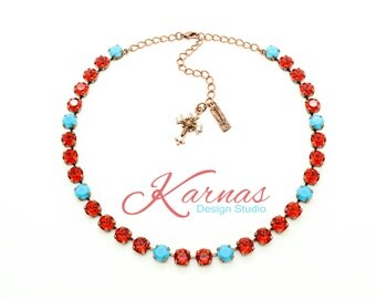 URBAN COWGIRL 8mm Crystal Red & Turquoise Necklace Made With Swarovski Elements *Pick Your Finish *Karnas Design Studio *Free Shipping