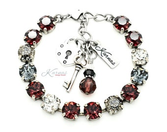 WINTER COGNAC 8mm Crystal Bracelet Swarovski Elements *Pick Your Finish *Karnas Design Studio *Free Shipping*