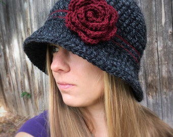 Crochet Cloche Hat, Women's Winter Bucket Hat, with Crochet Flower