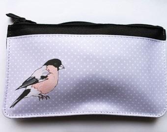 Bullfinch bird zip pouch, makeup bag, pencil case