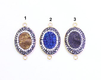 SALE Druzy Connectors -- Pave Cz Zircon Diamonds Wholesale Drusy Druzzy Druzy Connector Charms YHA-194