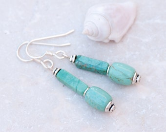 Turquoise Earrings, Natural Turquoise Earrings, Slender Natural Stone Earrings,  Sterling Silver Earrings, Chakra Earrings, Rustic Earrings