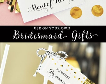 How to Ask a Bridesmaid Tags Will You Be My Maid of Honor Ways to Ask Will You Be My Bridesmaid Gift Tags (EB3095) set of 6 Tags & Tassels