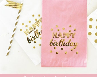 Birthday Party Bags Pink and Gold Birthday Favor Bags Happy Birthday Candy Bags Birthday Favor Ideas Gold Birthday Bags  (EB3038Y) set of 12