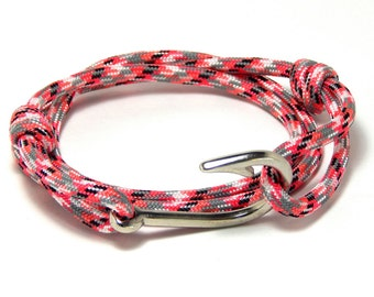 Fish Hook Bracelet Pink Camo Men Women Nautical Handmade USA Adjustable
