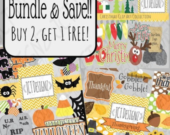 Holiday Clip Art Collection, Bundle & SAVE! On Sale!