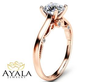 Round Cut Diamond Engagement Ring Unique 14K Rose Gold Ring 1 Carat Diamond Engagement Ring Custom Ring