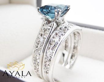 london blue topaz engagement ring set princess cut topaz bridal set unique 14k white gold rings - Blue Topaz Wedding Rings