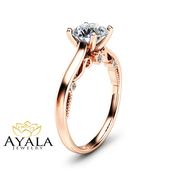 cut moissanite engagement ring unique 14k gold ring
