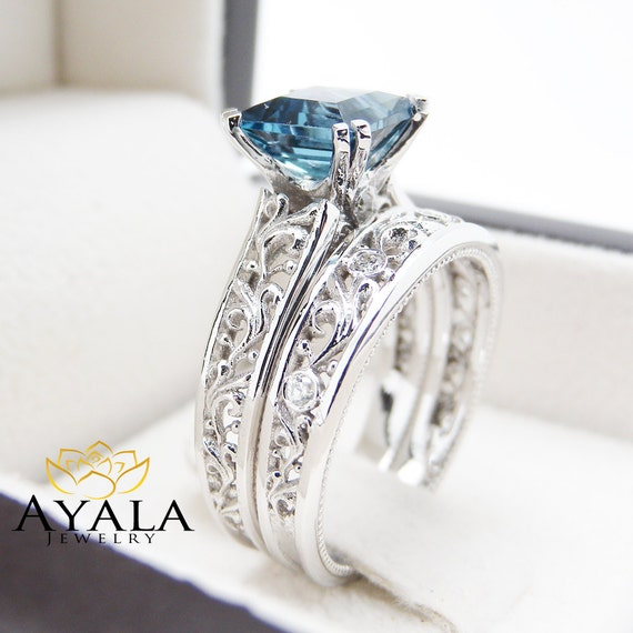 London blue topaz engagement ring set princess cut topaz for Blue topaz wedding ring sets