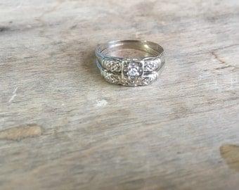 Midcentury Happiness wedding set 14K white gold diamond