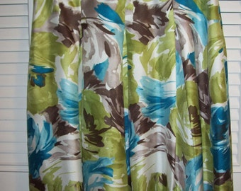 Talbot's Spring Gored Flared Fling Silk  Skirt Turquoise and Lime Beautiful 10 P