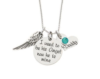 I used to be his Angel now he's mine - Personalized Hand Stamped Necklace - Angel Wing - Rememberance - Memorial Jewelry- ANY NAME