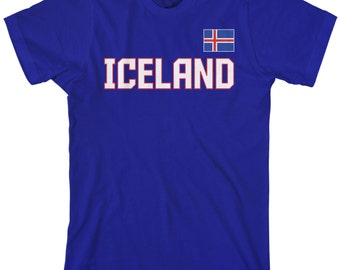 Iceland National Team Men's T-shirt Icelandic Flag Nordic Island Football Reykjavik Republic Soccer - TA_00306