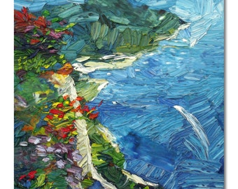 Original seascape oil painting on stretched canvas, amalfi coast textured painting