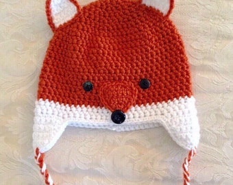 Fox Hat, Crochet Fox hat, Child Fox Hat, Animal Hat, Photo Prop
