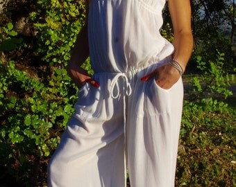 Formal Jumpsuit,White Overalls,Romper,Womens Overalls,Jumper,Party Jumpsuit,Maxi Jumpsuit,Womens Jumpsuit,Maxi Romper,Cotton Jumpsuit
