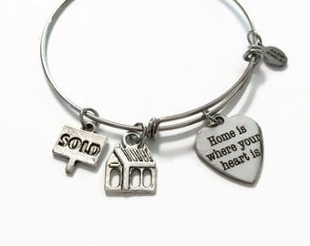 Home is Where Your Heart Is Expandable Bracelet Sold Home Expandable Charm Bracelet First Home Stacking Bracelet House Adjustable Bangle