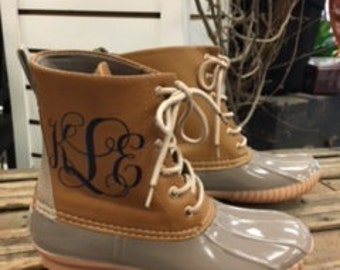 Embriodered Gray Duck Boots