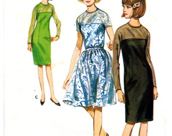60s Butterick 3856 Dress with Sheer Yoke, Jewel Neckline, Straight or Flared Skirt, Uncut, Factory Folded, Vintage Sewing Pattern Size 14/36