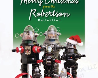 Robot-themed Customizable Christmas Greeting Art Print