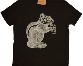 Mens T Shirt - Coffee Drinking Chipmunk T Shirt - Animal Tee Shirts- Funny T Shirts - Graphical Tees - Mens Chipmunk Tee Shirts S M L XL 2XL