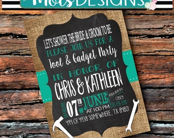 Any Color COUPLES WEDDING TOOL & Gadget His Hers Bbq Barbecue Chalkboard Burlap Groom Cookout Honey Do Shower Baby Birthday Party Invitation