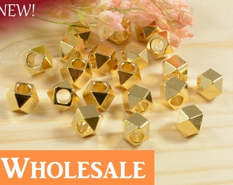 Faceted Spacer, 5mm, Diamond Cut Bead, Solid Brass Bead, 2.6mm Hole, Tarnish Resist, Lead Free, 22K Gold Plating, WHOLESALE-100 PCS/order