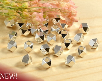 4mm Faceted Spacer Beads, Diamond Cut Metal Beads, Sterling Silver Anti-Tarnish Plated Beads, Large Hole Spacer Beads - 25 pcs/ order