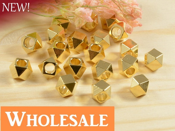 5mm Faceted Spacer Bead WHOLESALE , Diamond Cut Bead, Large Hole Metal Spacer Bead in Anti-Tarnish 22K Gold Plating  - 100 PCS