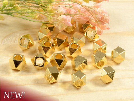 5mm Faceted Beads, Diamond Cut Spacer, Gold Beads, Metal Spacer Beads, Large Hole Beads in 22K Anti-Tarnish Gold Plating- 25 pcs/ order
